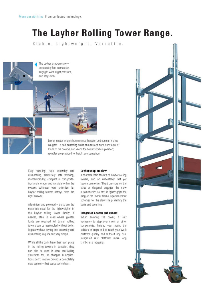 Layher Rolling Tower Range.