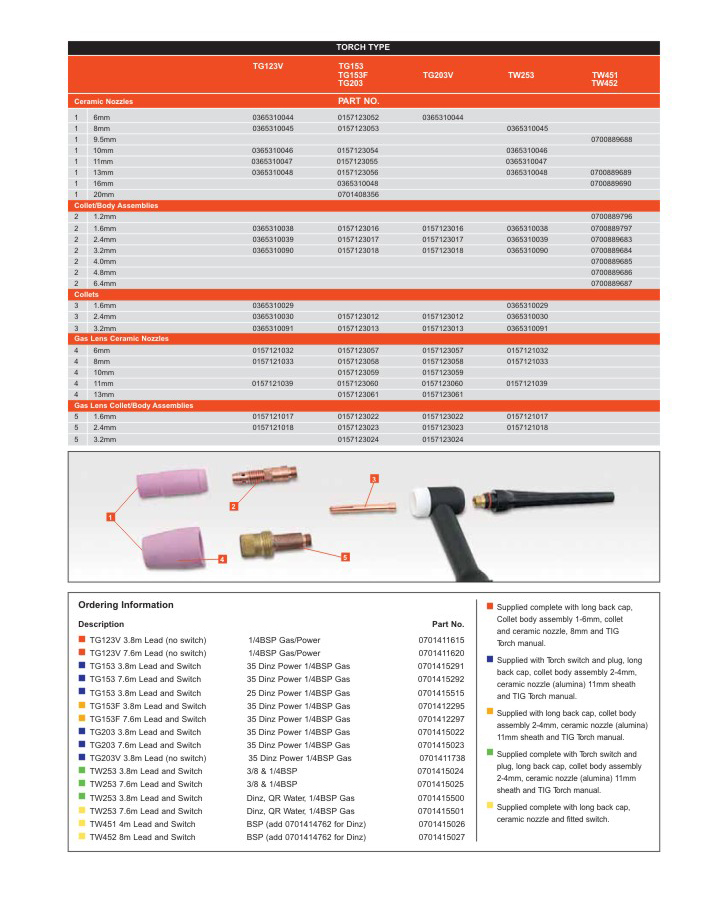 Murex - Tig Torches TG & TW, Accessories & Spare