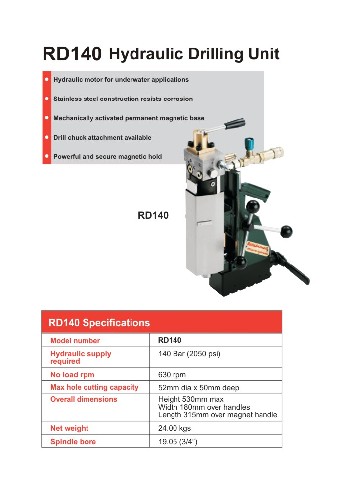 Rotabroach - RD140 Hydraulic Drilling Unit